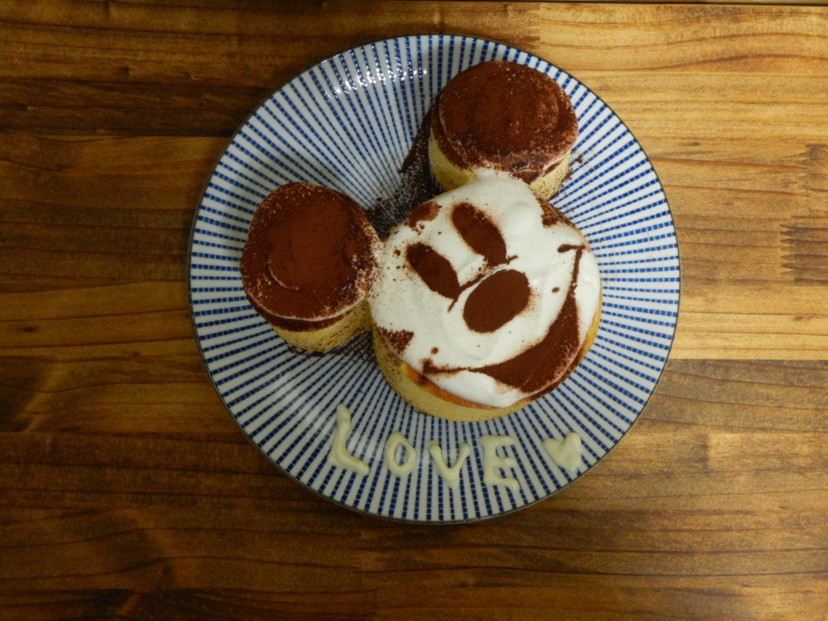 ダイソーミッキー型でホットケーキをレンジを使って作ってみた!可愛い!